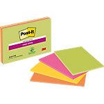 Post it Zelfklevende notes 101 x 152 mm Geel, groen, oranje, roze 4 Stuks à 45 Vellen