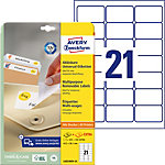 AVERY Zweckform Verwijderbare etiketten L6023REV 25 Wit A4 63,5 x 38,1 mm 30 Vellen à 21 Etiketten