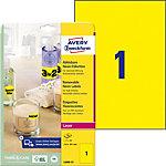 AVERY Zweckform Verwijderbare etiketten L6006 25 Neon geel A4 210 x 297 mm 25 Vellen à 1 Etiketten