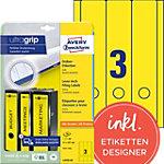 AVERY Zweckform Ordnerrugetiketten Ultragrip L4755 20 Geel A4 297 x 61 mm 20 Vellen à 3 Etiketten