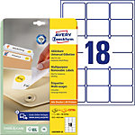 AVERY Zweckform Verwijderbare etiketten L60225REV 25 Wit A4 63,5 x 46,6 mm 30 Vellen à 18 Etiketten
