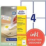 AVERY Zweckform Verwijderbare etiketten L4733REV 25 Wit A4 99,1 x 139 mm 30 Vellen à 4 Etiketten