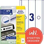 AVERY Zweckform Ordnerrugetiketten L4757 25 Ultragrip Wit A4 63 mm 25 Vellen à 3 Etiketten