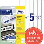 AVERY Zweckform Ordnerrugetiketten L4756 25 Ultragrip Wit A4 34 mm 25 Vellen à 5 Etiketten