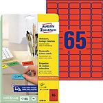 AVERY Zweckform Verwijderbare etiketten L4790 20 Rood 38,1 x 21,2 mm 20 Vellen à 65 Etiketten