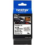 Brother TZe Labeltape TZe FX231 Zwart op Wit 12 mm x 8 m
