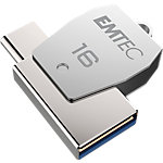 EMTEC USB stick T250C MOBILE & GO 2 in 1 16 GB Zilver