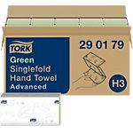 Tork Gevouwen handdoeken H3 Advanced 2 laags V vouw Groen 15 Stuks à 250 Vellen