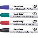 Niceday WBM2.5 Whiteboard marker Ronde punt 2.5 mm Kleurenassortiment 4 Stuks