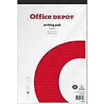 Office Depot Schrijfblok A4+ Gelinieerd Wit, rood 5 Stuks à 100 Vellen