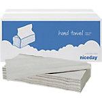 Niceday Papieren handdoeken 1 laags V vouw Naturel 20 Stuks à 250 Vellen