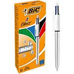 BIC® 4 COLOURS SHINE 4 kleuren balpen 0.32 mm Blauw, zwart, rood, groen 12 Stuks