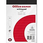 Office Depot Schrijfblok Wit, rood Gelinieerd micro perforatie A6 10,5 x 14,8 cm 70 g