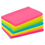 Office Depot Extra Sticky Notes 127 x 76 mm Neon magenta, geel, groen, blauw 6 Stuks à 90 Vellen