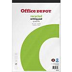 Office Depot Recycled Schrijfblok Wit, groen Geruit micorperforatie A4+ 21 x 31,5 cm 70 g
