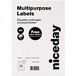 Niceday Rechte hoeken Multifunctionele etiketten Wit 2400 stuks
