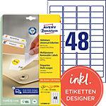AVERY Zweckform Stick & Lift Herkleefbare etiketten Wit 1200 stuks