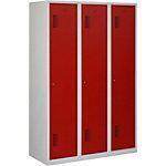 Vestiaire NHT 180 3.3 Gris, rouge 3 Portes 3 colonnes Système antichute