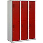 Vestiaire NHTD 180 3.6 Gris, rouge 1,200 x 500 x 1,800 mm 3 colonnes 6 Portes Serrure cylindre