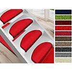 Tapis d'escalier FLOORDIREKT STEP Dynasty Velours Semi circulaire PP, feutre Rouge