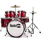 Kit de batterie RockJam 5 unités Junior Rouge