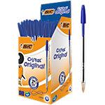 Stylo bille BIC Cristal® 0.4 mm Bleu Avec capuchon 50 Unités
