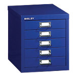Caissons à tiroirs multiples Bisley Serie 12 5 tiroirs Bleu 279 x 408 x 330 mm