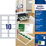 Cartes de visite AVERY Zweckform C32011 25 Blanc Mat 200 g