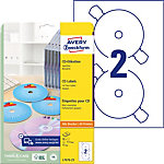 Étiquettes CD et DVD Avery L7676 25 A4 Blanc 25 Feuilles de 2 Étiquettes