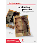 Pochettes de plastification Office Depot Brillant 2 x 75 (150) Micron Transparent 100 Unités