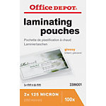 Pochettes de Plastification Office Depot Brillant 2 x 125 (250) Micron Transparent 100 Unités