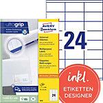 Étiquettes universelles AVERY Zweckform 3422 Ultragrip Blanc A4 70 x 35 mm 100 Feuilles de 24 Étiquettes
