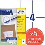 Étiquettes universelles AVERY Zweckform 3483 Ultragrip Blanc A4 105 x 148 mm 100 Feuilles de 4 Étiquettes