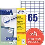 Étiquettes universelles AVERY Zweckform 3666 A4 Blanc 38 x 21,2 mm 100 Feuilles de 65 Étiquettes