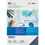 Couvertures de reliure HiClear GBC A4 PVC 300 microns Transparent 100 Unités