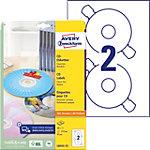 Étiquettes pour CD AVERY Zweckform L6043 25 Blanc A4 25 Feuilles de 2 Étiquettes