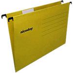 Dossiers suspendus Niceday OfficeY A4 Jaune Carton recyclé Entraxe 330 mm Fond V 25 Unités