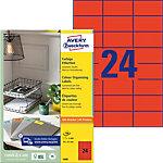 Étiquettes universelles AVERY Zweckform 3448 QuickPEEL Rouge A4 70 x 37 mm 100 Feuilles de 24 Étiquettes