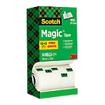 Ruban Adhésif Scotch Magic 810 19 mm x 33 m Invisible Pack avantage 12 + 2 Rouleaux GRATUITS