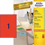 Étiquettes AVERY Zweckform Multifonctions Rouge 210 x 297 mm 100 Feuilles de 1 Étiquettes