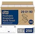 Essuie mains délitables Tork H3 Advanced 2 épaisseurs Pliage en V Blanc 15 Unités de 250 Feuilles