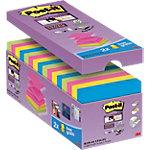 Notes adhésives Post it Super Sticky 76 x 76 mm Assortiment 90 Feuilles Pack avantage 14 + 2 GRATUITS