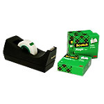 Dévidoir de ruban adhésif Scotch C38 Noir + 4 rouleaux de Scotch Magic Tape 92 mm x 33 m
