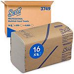 Essuie mains Scott 3749 1 épaisseur Pliage en M Blanc 16 Unités de 250 Feuilles