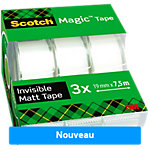 Ruban adhésif Scotch Magic 19mm x 7,5m 3 Invisible rouleaux