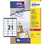 Étiquettes d'adresse Avery L7160 100 Autocollantes 63,5 x 38,1mm Blanc 100 Feuilles de 21 Étiquettes
