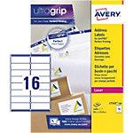 Étiquettes d'adresse Avery L7162 100 Autocollantes 99,1 x 33,9mm Blanc 100 Feuilles de 16 Étiquettes