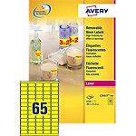 Mini étiquettes  Avery Jaune fluo 38,1 x 21,2 mm 100 Feuilles