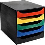 Office Depot Schubladenbox Schwarz, Mehrfarbige Schubladen 28,4 x 34,8 x 29 cm
