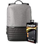 Energizer Laptop Rucksack mit UE10004 Powerbank Grau 29 x 12 x 45 cm